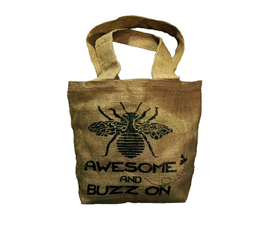 bee awesome jute bag image