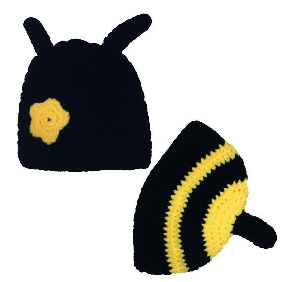 baby crochet bee design hat and butt cover photo props image