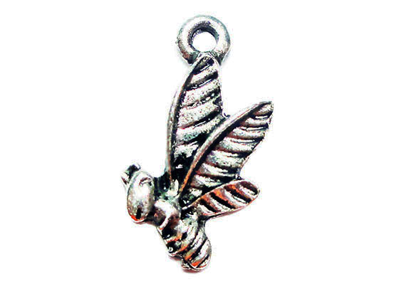 antique silver bee charm image