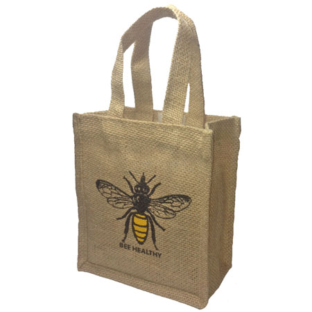 bee healthy small jute bag image