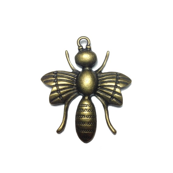 antique bronze big honeybee charms for necklace pendant image