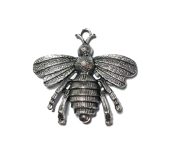big bee antique silver charm image