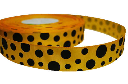 grosgrain orange black dots ribbon image