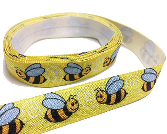 Yellow Grosgrain Ribbon with Bumblebee Prints image