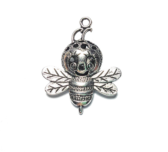 funny bee antique silver charm image