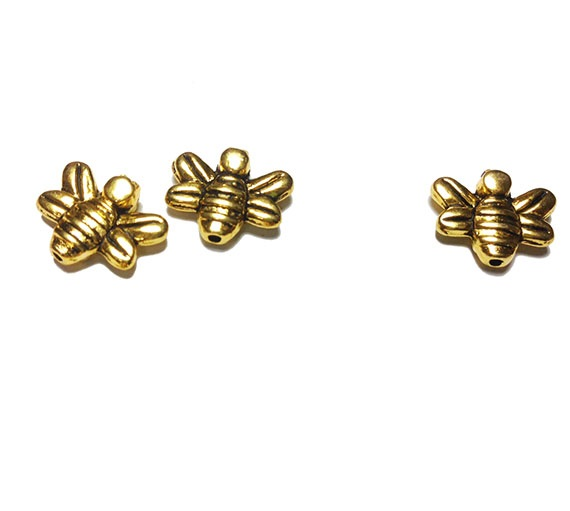 Gold Bee Spacer Beads for Necklace Earring Bracelet Pendant Charms image