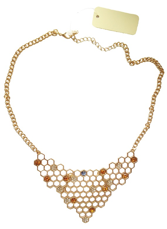 Gold-Plated Large Honeycomb Pendant Chain Necklace image