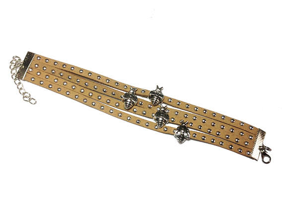 4-strap leather bracelet with honeybee charms image