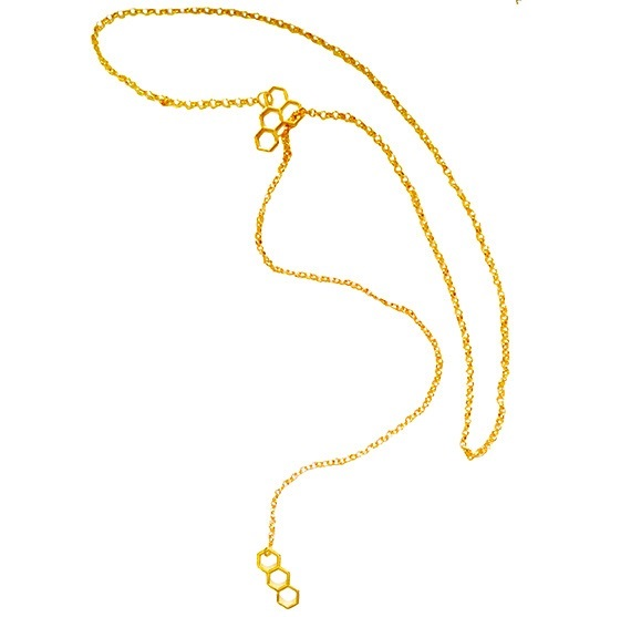 Gold-Plated Honeycomb Pendants Long Link Chain Necklace image