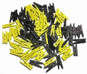 yellow and black mini wooden pags paper clips image