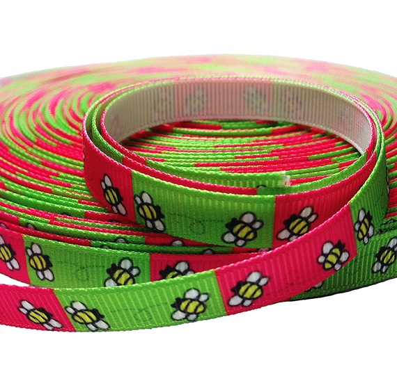 green and pink bee grosgrain ribbon image