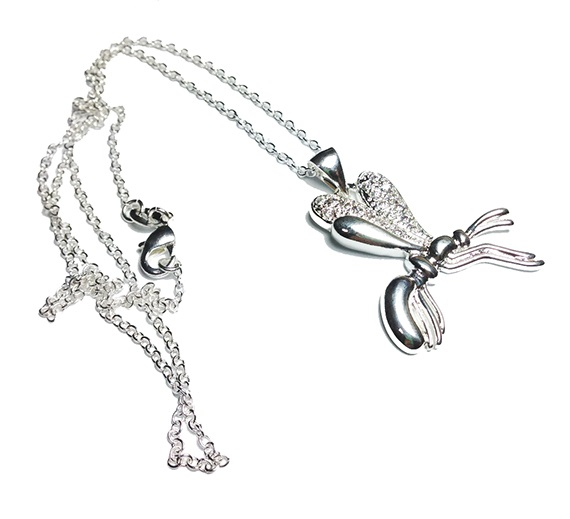 silver plated bee pendant chain image