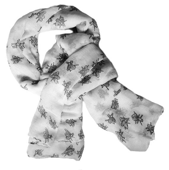 bee print white scarf image