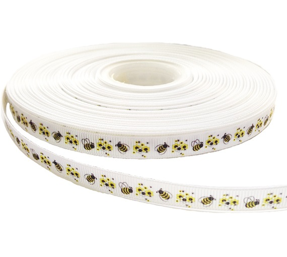 White Grosgrain Ribbon with Honeybees and Yellow Flowers Prints) image