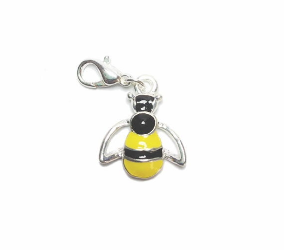 silver plated enamel bee charm pendant image